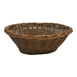 Vintage French Oval Market Basket For Sale