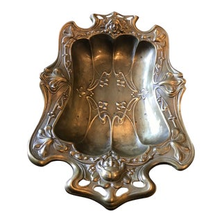 Antique French Art Nouveau Dish with Brass Finish For Sale