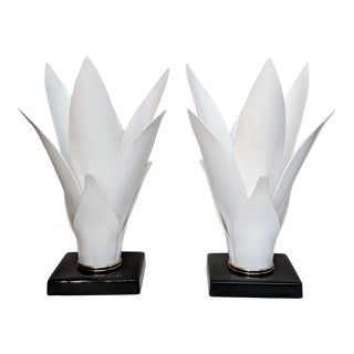 Rougier Style White Acrylic Lamps - a Pair For Sale