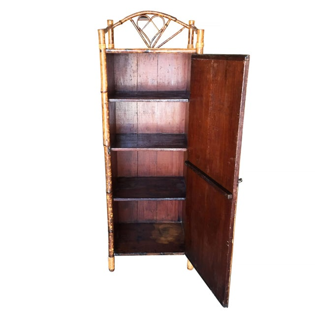 Restored Aesthetic Movement Tiger Bamboo Linen Cabinet With Rice Mat Covering For Sale In Los Angeles - Image 6 of 8