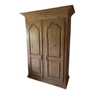 20th Century Traditional Raised Panel- Natural Pine Wood Wardrobe/T V Armoire For Sale