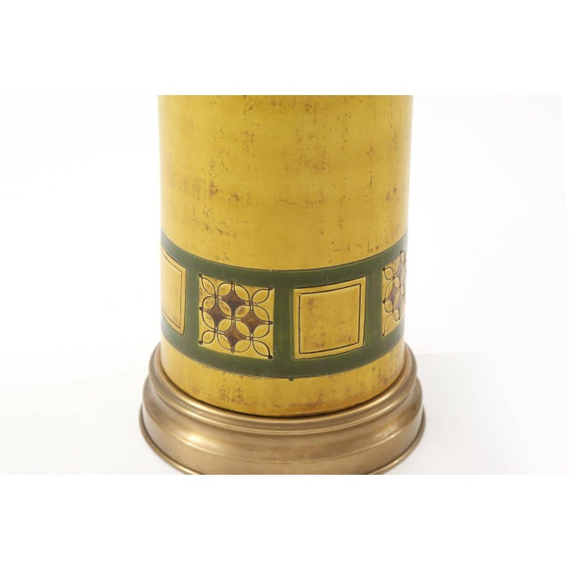 Mid-Century Modern Raymor Glazed Ceramic and Brass Lamp For Sale - Image 3 of 4