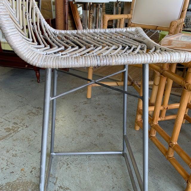 Tan Vintage White Washed Rattan Barstools - Set of 4 For Sale - Image 8 of 10