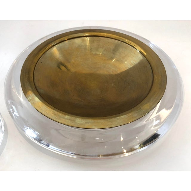 Great Mid-Century Set of a Catchall & Lighter. Made of Lucite & Brass. Very good condition, consistent with age, very...