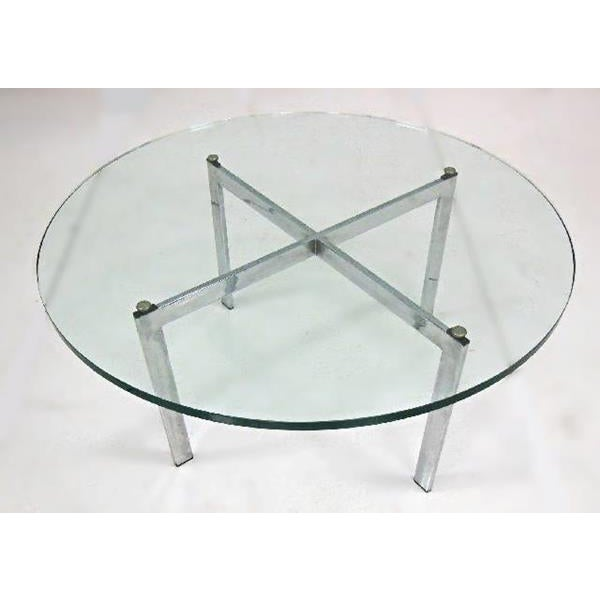 Barcelona Mid-Century Modern Round Glass Top Coffee Table - Image 3 of 7