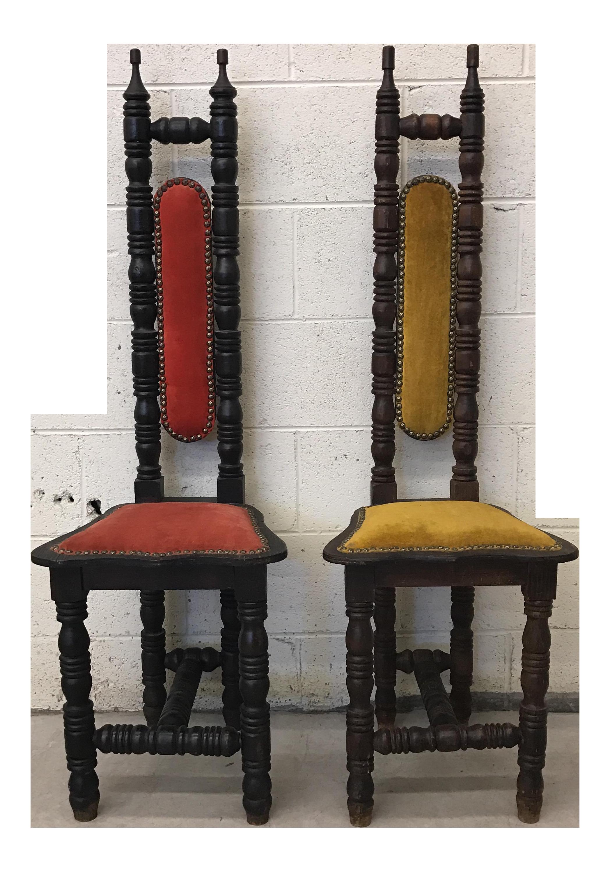 Spanish Mediterranean Wood Throne Chairs   A Pair