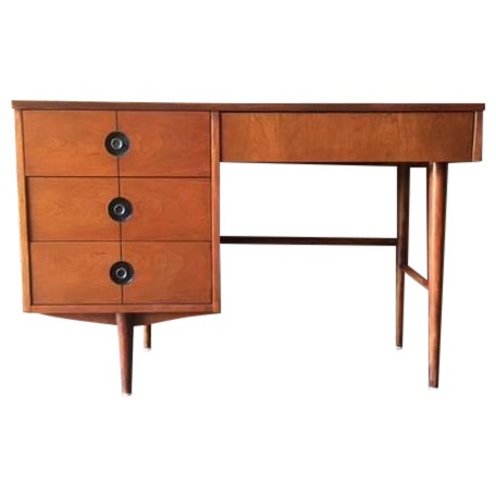 Mid Century Walnut Refinished Desk by Stanley - Image 1 of 7