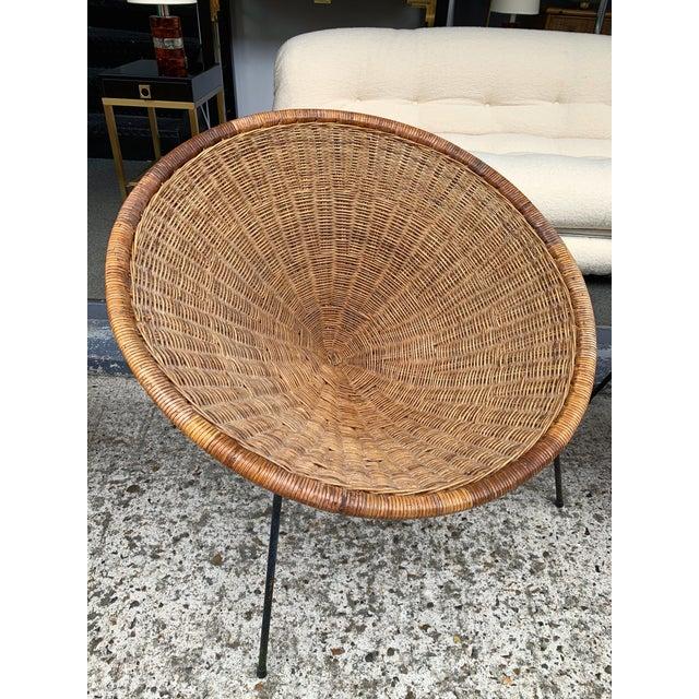 Rattan Basket Armchairs slipper chairs, black metal feet. Nice patina Shipping quote Air Freight, door to door, wood...