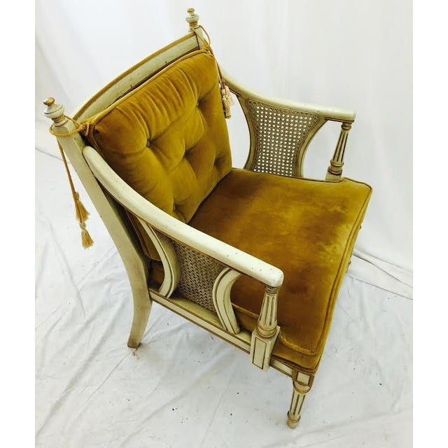 French-Style Gold Velvet & Cane Armchair - Image 4 of 11