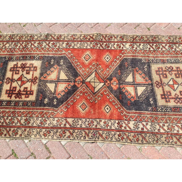 Boho Chic Vintage Hand Knotted Turkish Runner For Sale - Image 3 of 8