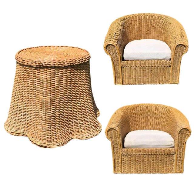 Round Wicker Bamboo Rattan Trompe l'Oeil Ghost or Draped Lounge Set 3 Pieces 1970s For Sale