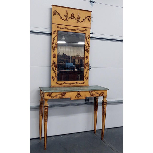 Neoclassical Style Paint Decorated Console & Mirror For Sale - Image 13 of 13
