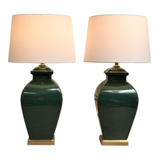 1980s Vintage Modernist Orientalism Emerald Green Ceramic & Brass Lamp - a Pair For Sale