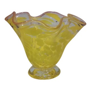 Murano Art Glass Pedestal Bowl With Ruffled Top