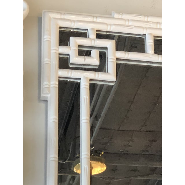 Asian Vintage Palm Beach White Lacquered Greek Key Faux Bamboo Wall Mirror For Sale - Image 3 of 11