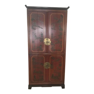 Red Chinoiserie Chinese Cabinet