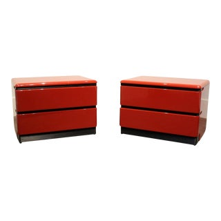 80's Modern Cherry Red Lacquered Nightstands by Roger Rougier For Sale