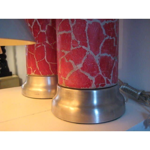 A Pair of Column Lamps by Bouck White In Crackle For Sale - Image 4 of 5