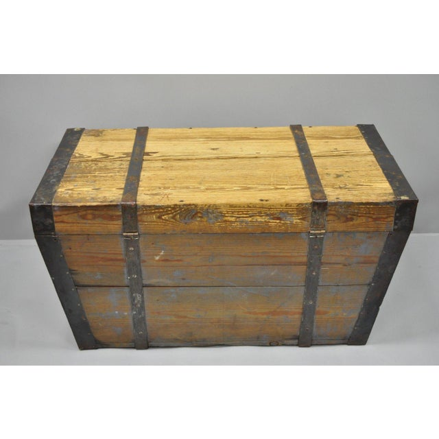 Late 19th Century Antique Primitive Wooden Trunk/Blanket Chest For Sale - Image 12 of 13