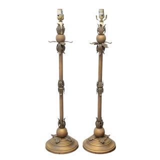 Tall Gold Table Lamps, 1970s Usa For Sale
