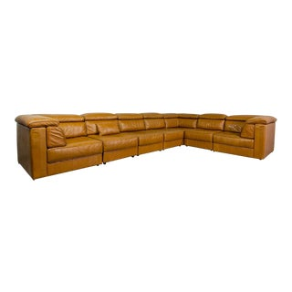 Mid-Century Modern Design Large Cognac Patchwork Leather Modular Sofa-system by Laauser , 1970s For Sale