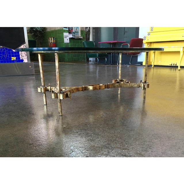 Maison Ramsay 1950s Spanish Brutalist Gilded Wrought Iron & Glass Coffee Table For Sale - Image 4 of 13