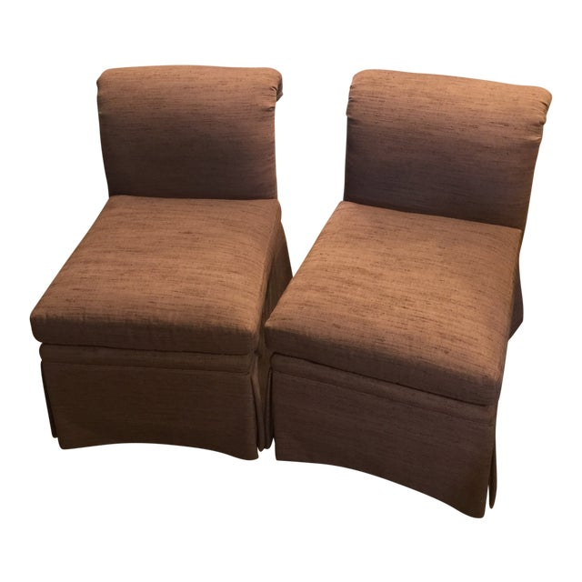 1980s Vintage Heritage Plum Color Linen Slipper Chairs- A Pair For Sale