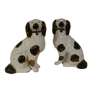 """19th-Century Staffordshire """"Copper Lustre"""" King Charles Spaniels - a Pair For Sale"""
