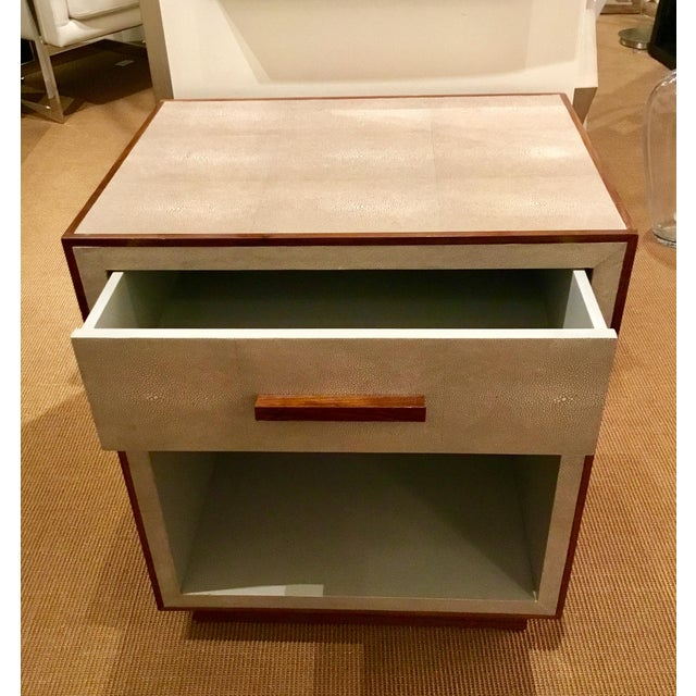 Stylish transitional Faux Shagreen Nightstand in a creamy taupe with walnut trim, one drawer, walnut pull, prototype