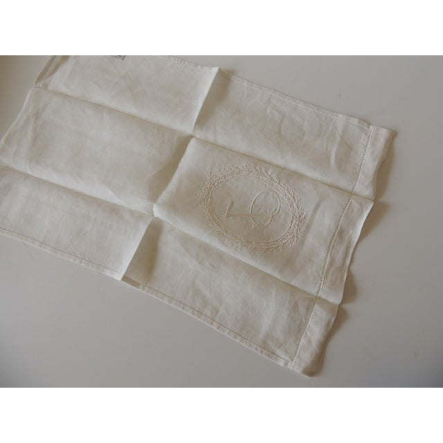 """Vintage """"J"""" Letter Embroidered Bathroom Guest Towel For Sale - Image 4 of 5"""