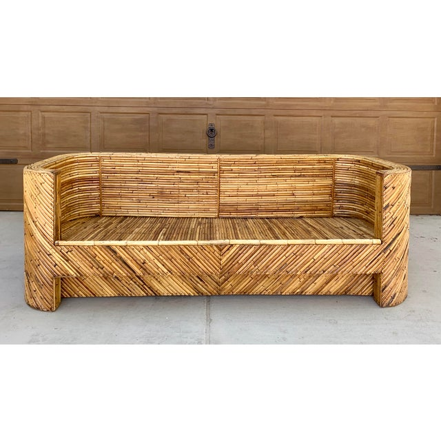 1960's Stacked Bamboo Sofa in the Manor of Gabriella Crespi For Sale - Image 13 of 13