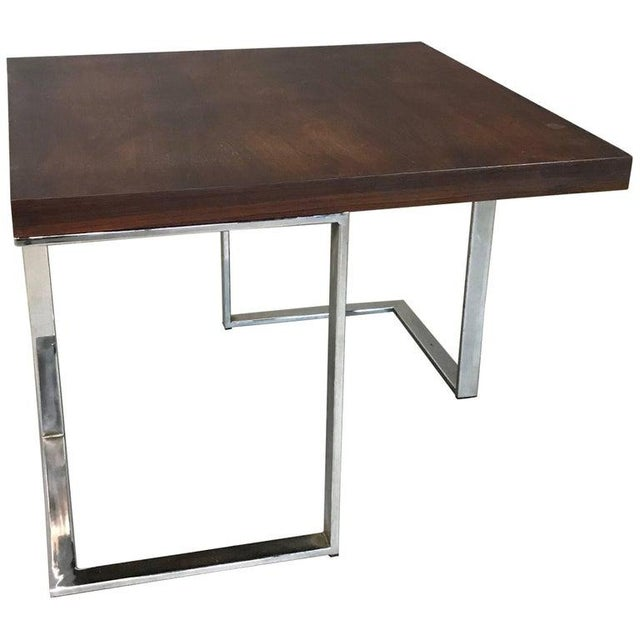 1960s Mid-Century Modern Rosewood and Chrome Coffee or Side Table For Sale In New York - Image 6 of 6