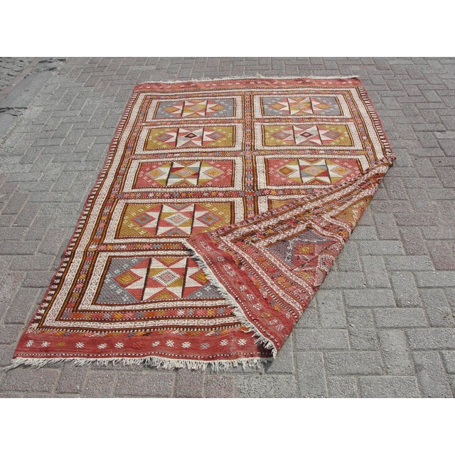 "Vintage Turkish Kilim Rug - 65.5′″ × 97"" For Sale - Image 12 of 13"
