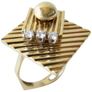 1960s Gold Diamond Double Spinner Kinetic Disco Ring For Sale