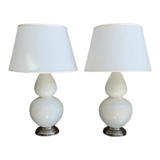 Robert Abbey Lily Double Gourd Glazed Ceramic Table Lamps - a Pair For Sale