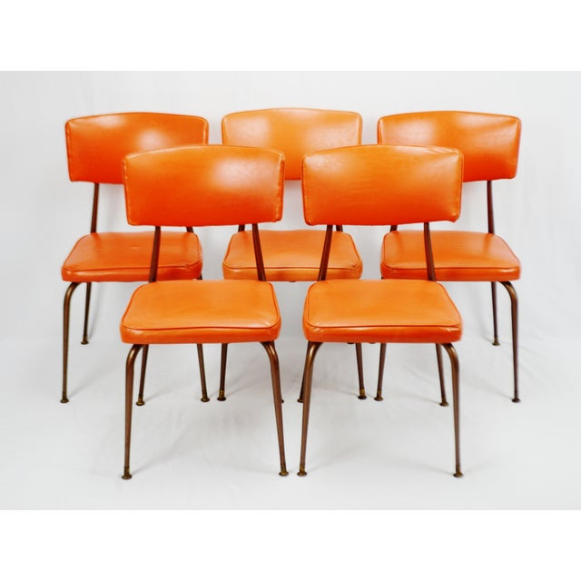 Mid-Century Modern Orange Dining Chairs - Set of 5 - Image 2 of 11