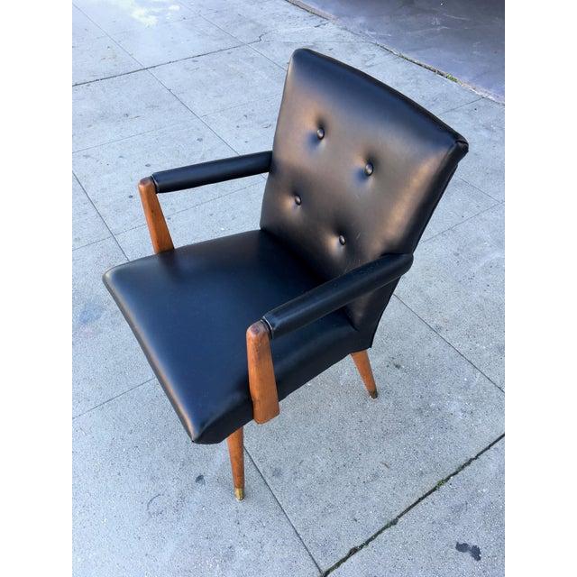 Wood Mid-Century Black Vinyl & Walnut Arm Chair For Sale - Image 7 of 9
