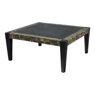 1990s Postmodern Dual Color Tessellated Stone Cube Square Coffee Table, For Sale