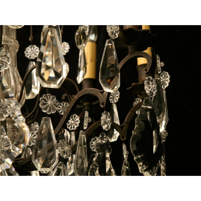 French Vintage French Crystal 8 Light Chandelier For Sale - Image 3 of 10