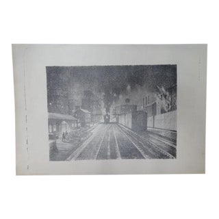 Frederic Watts Litho Train in Los Angeles Station For Sale