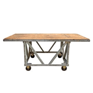 Vintage American Industrial Kitchen Island With Wood Top For Sale