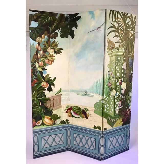 Maitland Smith Handpainted 3-Panel Screen For Sale - Image 10 of 10