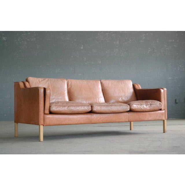 Børge Mogensen Style Sofa Model 2213 in Light Cognac Leather by Stouby Mobler - Image 3 of 10