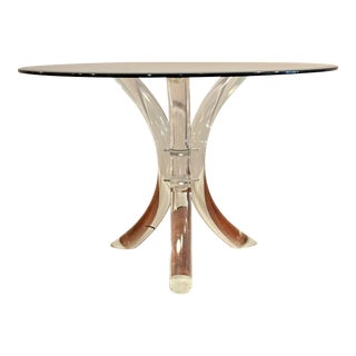 Charles Hollis Jones Lucite Tusk Round Glass Top Dining Table