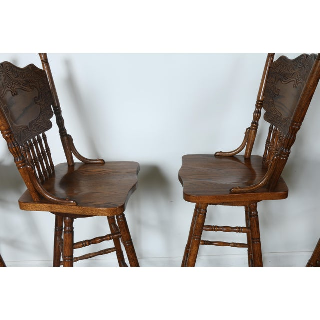 Country Style Solid Oak Bar Stools - Set of 4 - Image 7 of 9
