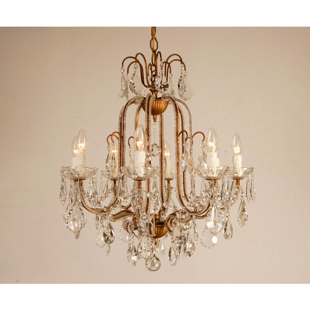 Timeless and refined style Italian Crystal beaded chandelier Hand crafted by Banci Firenze Italy Condition: Very good used...