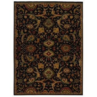 Persian Mahal Style Black Area Rug with Animal Motifs - 8′9″ × 11′10″ For Sale