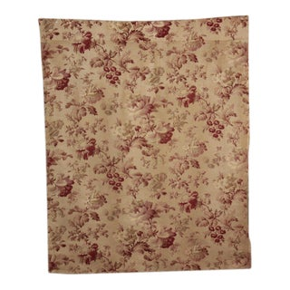 """Antique 1900s French Belle Epoque Printed Cotton & Linen Floral Fabric - 31"""" X 38"""" For Sale"""