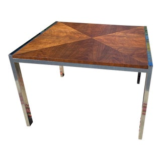 Vintage Chrome and Walnut Coffee Table by Forecast Et Cetera For Sale