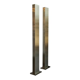 Casella Brushed Bronze Finished Torchieres - a Pair